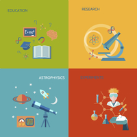 Science and research flat icons set with education research astrophysics experiments isolated vector illustration 60016003843| 写真素材・ストックフォト・画像・イラスト素材|アマナイメージズ