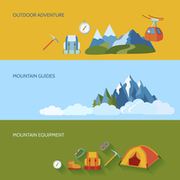 Mountains camping banners set with outdoor adventure guides equipment isolated vector illustration 60016003851| 写真素材・ストックフォト・画像・イラスト素材|アマナイメージズ