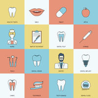 Teeth dental health flat icons set with smile tablet apple isolated vector illustration 60016003880| 写真素材・ストックフォト・画像・イラスト素材|アマナイメージズ