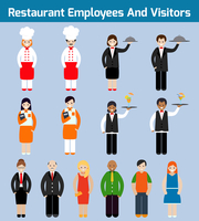 Restaurant employees and visitors flat avatars set with waiter chef servant isolated vector illustration 60016003922| 写真素材・ストックフォト・画像・イラスト素材|アマナイメージズ