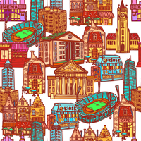 Sketch city decorative colored seamless pattern with office building cafe stadium vector illustration 60016003924| 写真素材・ストックフォト・画像・イラスト素材|アマナイメージズ