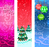 Merry christmas new year holiday ornaments vertical banners set isolated vector illustration 60016003925| 写真素材・ストックフォト・画像・イラスト素材|アマナイメージズ