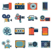 Photo video camera and multimedia equipment flat icons set isolated vector illustration 60016003928| 写真素材・ストックフォト・画像・イラスト素材|アマナイメージズ