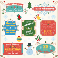 Merry christmas and happy new year holiday decoration colored labels with wishes set vector illustration 60016003931| 写真素材・ストックフォト・画像・イラスト素材|アマナイメージズ