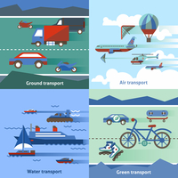 Transportation flat set with ground air water green transport isolated vector illustration 60016003938| 写真素材・ストックフォト・画像・イラスト素材|アマナイメージズ