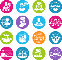 Business meeting white round buttons icons set of teamwork mediation planning elements isolated vector illustration 60016003942| 写真素材・ストックフォト・画像・イラスト素材|アマナイメージズ