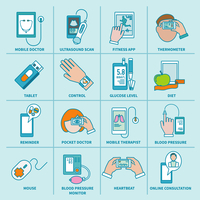Digital health icons flat line set of mobile doctor ultrasound scan fitness app isolated vector illustration 60016004048| 写真素材・ストックフォト・画像・イラスト素材|アマナイメージズ