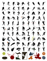 Collection of silhouettes of sportsmen. 100 silhouettes of sportsmen and stock. A vector illustration