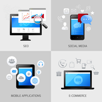 SEO web mobile concepts social media application e-commerce icons set isolated vector illustration 60016004152| 写真素材・ストックフォト・画像・イラスト素材|アマナイメージズ