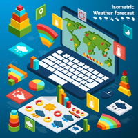 Weather forecast isometric icons buttons set with open laptop vector illustration 60016004177| 写真素材・ストックフォト・画像・イラスト素材|アマナイメージズ