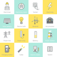 Electricity flat line icons set with socket solar battery windmill vector illustration 60016004200| 写真素材・ストックフォト・画像・イラスト素材|アマナイメージズ