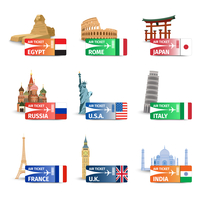 World famous landmarks with travel airplane ticket icons set isolated vector illustration 60016004208| 写真素材・ストックフォト・画像・イラスト素材|アマナイメージズ