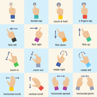 Touch interface hand gestures icons isolated vector illustration 60016004209| 写真素材・ストックフォト・画像・イラスト素材|アマナイメージズ