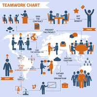Teamwork infographic set with business process pictograms and world map vector illustration 60016004218| 写真素材・ストックフォト・画像・イラスト素材|アマナイメージズ