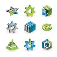 Collection of 9 design elements and graphics in green, grey and blue color - vector illustration 60016004298| 写真素材・ストックフォト・画像・イラスト素材|アマナイメージズ
