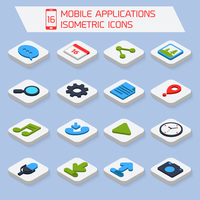 Mobile phone applications search settings mail isometric icons set  isolated vector illustration 60016006085| 写真素材・ストックフォト・画像・イラスト素材|アマナイメージズ