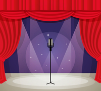 Stage with microphone in spotlight with red curtain background vector illustration. 60016006129| 写真素材・ストックフォト・画像・イラスト素材|アマナイメージズ