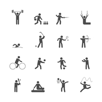 Decorative swimming boxing weihgtlifting sport symbols internet icons set silhouette graphic isolated vector illustration 60016006142| 写真素材・ストックフォト・画像・イラスト素材|アマナイメージズ