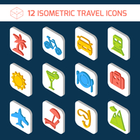 Travel holiday vacation icons isometric white set of bicycle car sun isolated vector illustration. 60016006301| 写真素材・ストックフォト・画像・イラスト素材|アマナイメージズ