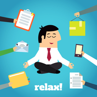 Businessman practicing yoga cross legged lotus asana relaxation technique detachment from documents pressure cartoon character v 60016006406| 写真素材・ストックフォト・画像・イラスト素材|アマナイメージズ