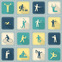 Decorative swimming boxing weightlifting rhythmic gymnastics sport symbols patch style icons set flat isolated vector illustrati 60016006449| 写真素材・ストックフォト・画像・イラスト素材|アマナイメージズ