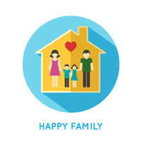 Happy family flat concept icon with parents and two children at home vector illustration 60016006476| 写真素材・ストックフォト・画像・イラスト素材|アマナイメージズ