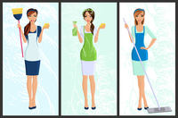 Young woman housewife set cleaning with spray and sponge full length portrait banners isolated vector illustration 60016006572| 写真素材・ストックフォト・画像・イラスト素材|アマナイメージズ