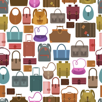 Women fashion and travel baggage bags shopping seamless pattern vector illustration 60016006668| 写真素材・ストックフォト・画像・イラスト素材|アマナイメージズ