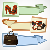 Three horizontal women luxury products advertisement banners set with leather footwear bag and cosmetics isolated vector illustr 60016006834| 写真素材・ストックフォト・画像・イラスト素材|アマナイメージズ