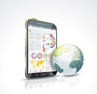 Illustration of a smart phone and globe. Vector. 60016007061| 写真素材・ストックフォト・画像・イラスト素材|アマナイメージズ