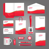 Red wavy abstract business stationery template for corporate identity and branding set vector illustration 60016007122| 写真素材・ストックフォト・画像・イラスト素材|アマナイメージズ