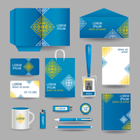 Blue ornamental business stationery template for corporate identity and branding set vector illustration 60016007123| 写真素材・ストックフォト・画像・イラスト素材|アマナイメージズ