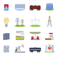 Energy and electricity icons set with battery hydroelectric plant coal wagon isolated vector illustration 60016007174| 写真素材・ストックフォト・画像・イラスト素材|アマナイメージズ