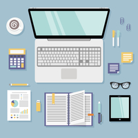 Business office workplace flat set with computer id card notebook isolated vector illustration 60016007176| 写真素材・ストックフォト・画像・イラスト素材|アマナイメージズ