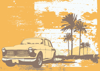 vector illustration of vintage car on the beach with palms and sunset 60016007643| 写真素材・ストックフォト・画像・イラスト素材|アマナイメージズ
