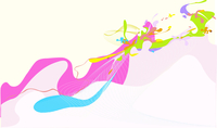 Vector illustration - abstract background made of color splashes and curved lines 60016007648| 写真素材・ストックフォト・画像・イラスト素材|アマナイメージズ