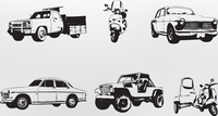 Silhouette cars. Vector illustration of old vintage custom collector's cars and motorcycle 60016007665| 写真素材・ストックフォト・画像・イラスト素材|アマナイメージズ