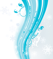 Surreal snowflakes design .  Blue abstract background with waves, ribbons and snowflakes. Vector illustration. 60016007668| 写真素材・ストックフォト・画像・イラスト素材|アマナイメージズ