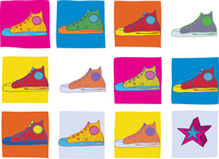 Pattern made of cool hand-drawn sport shoes in different colors. Vector illustration 60016007741| 写真素材・ストックフォト・画像・イラスト素材|アマナイメージズ