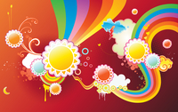 Vector illustration of funky styled design background made of sun shapes, rainbow shapes and floral elements 60016007762| 写真素材・ストックフォト・画像・イラスト素材|アマナイメージズ