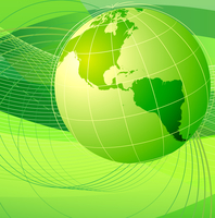Vector illustration of green abstract lines background - composition of curved lines and globe 60016007938| 写真素材・ストックフォト・画像・イラスト素材|アマナイメージズ