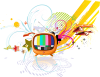 Vector illustration of funky abstract background with cool retro TV 60016007953| 写真素材・ストックフォト・画像・イラスト素材|アマナイメージズ
