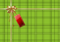 Vector illustration of green Scottish plaid gift wrapping with golden ribbon, bow and red empty tag 60016008053| 写真素材・ストックフォト・画像・イラスト素材|アマナイメージズ