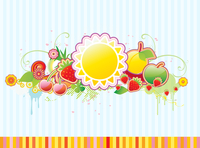 Vector illustration of funky styled design frame made of floral and fruity elements 60016008185| 写真素材・ストックフォト・画像・イラスト素材|アマナイメージズ