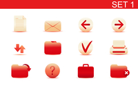 Vector illustration set of red elegant simple icons for common computer functions. Set-1 60016008259| 写真素材・ストックフォト・画像・イラスト素材|アマナイメージズ