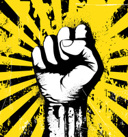 Vector illustration of clenched fist held high in protest on the yellow grunge urban background 60016008883| 写真素材・ストックフォト・画像・イラスト素材|アマナイメージズ