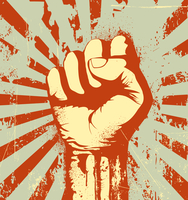 Vector illustration of clenched fist held high in protest on the red grunge urban background 60016008884| 写真素材・ストックフォト・画像・イラスト素材|アマナイメージズ
