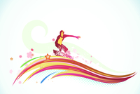 Vector illustration of summer background with a surfer riding a huge abstract wave 60016009081| 写真素材・ストックフォト・画像・イラスト素材|アマナイメージズ