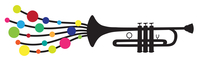 Vector illustration of trumpet silhouette decorated with colored circle drops, as a symbol of melody