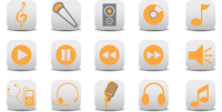 Vector illustration of music/audio icons.You can use it for your website, application or presentation 60016009244| 写真素材・ストックフォト・画像・イラスト素材|アマナイメージズ